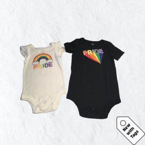 🆕2-Pack Baby (3-6 mon) Rainbow Onesie